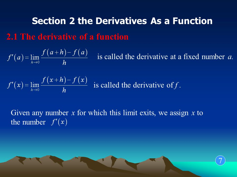 Example 1 The graph of a function f is given in the following graph, use it to sketch the graph of the derivative 8