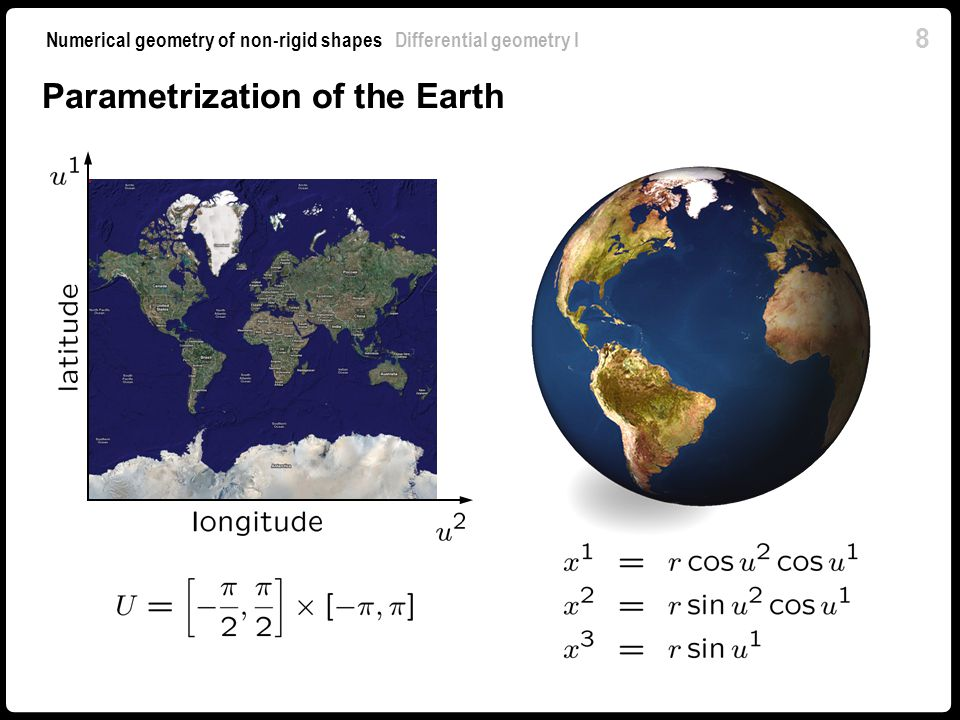 9 Numerical geometry of non-rigid shapes Differential geometry I Tangent plane & normal At each point, we define local system of coordinates A parametrization is regular if and are linearly independent.