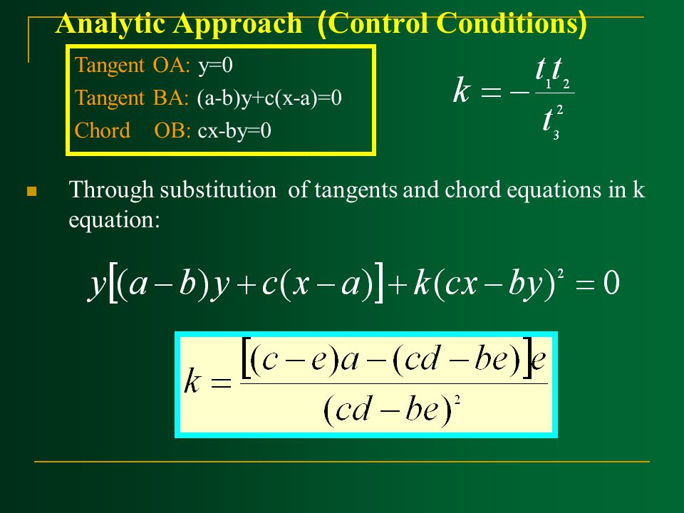 Analytic Approach ) ‍Control Conditions( Through substitution of tangents and chord equations in k equation: Tangent OA: y=0 Tangent BA: (a-b)y+c(x-a)=0 Chord OB: cx-by=0