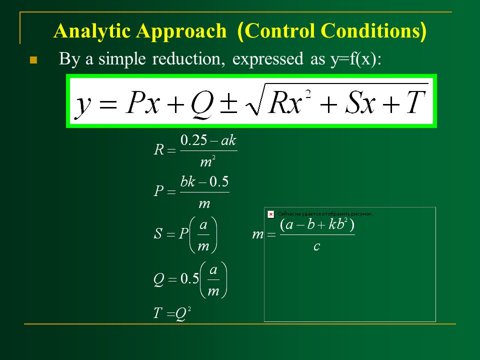 Analytic Approach ) ‍Control Conditions( By a simple reduction, expressed as y=f(x):