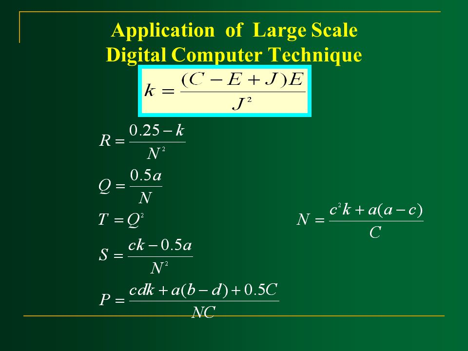 Application of Large Scale Digital Computer Technique