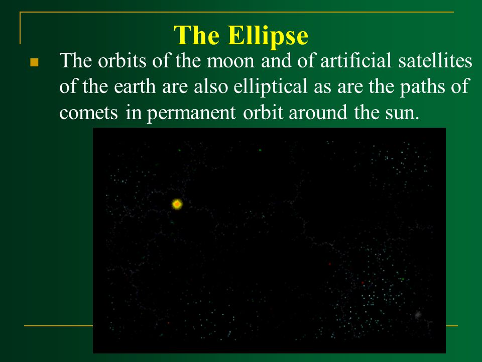 The Ellipse The orbits of the moon and of artificial satellites of the earth are also elliptical as are the paths of comets in permanent orbit around the sun.
