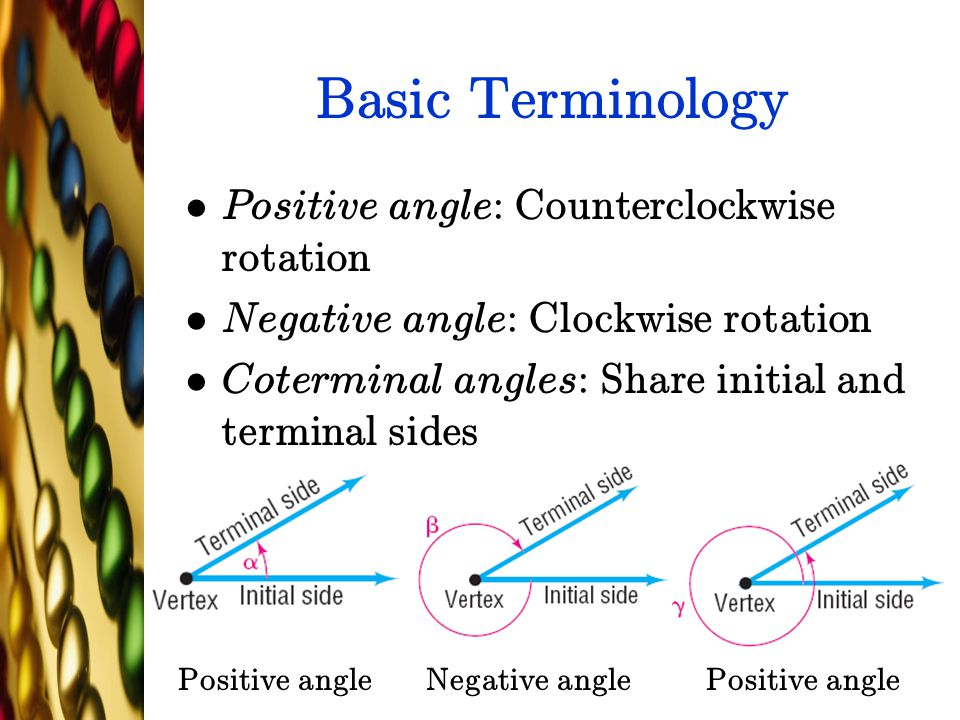 Basic Terminology Positive angle: Counterclockwise rotation Negative angle: Clockwise rotation Coterminal angles: Share initial and terminal sides Pos