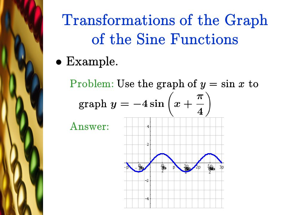 Transformations of the Graph of the Sine Functions Example. Problem: Use the graph of y = sin x to graph Answer:
