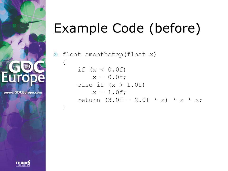 Example Code (before)  float smoothstep(float x) { if (x 1.0f) x = 1.0f; return (3.0f – 2.0f * x) * x * x; }