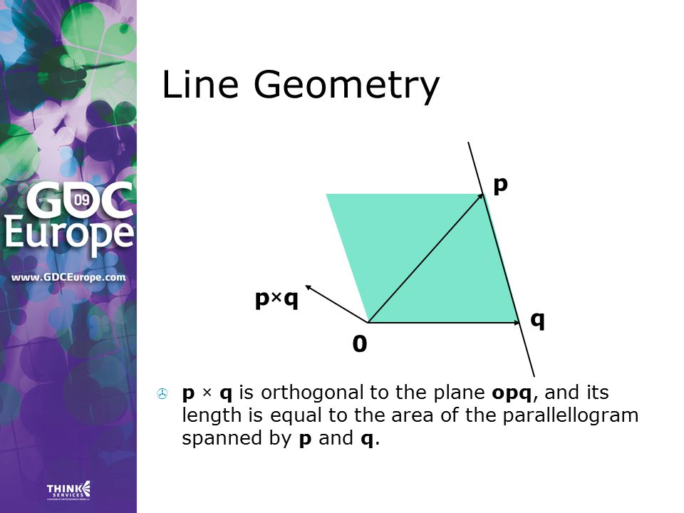 Line Geometry p q 0 p×qp×q  p × q is orthogonal to the plane opq, and its length is equal to the area of the parallellogram spanned by p and q.