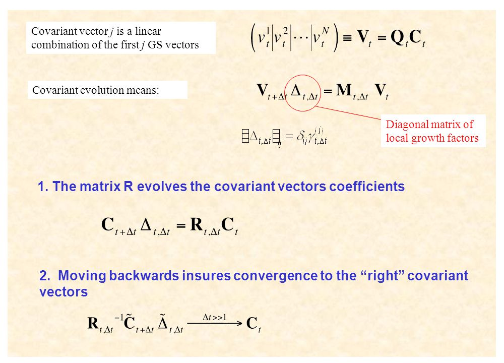"Covariant evolution means: Covariant vector j is a linear combination of the first j GS vectors 2. Moving backwards insures convergence to the ""right"""