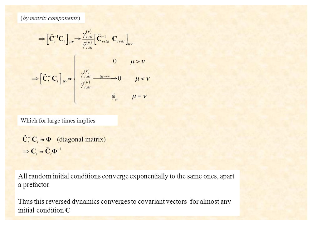 (by matrix components) Which for large times implies All random initial conditions converge exponentially to the same ones, apart a prefactor Thus thi