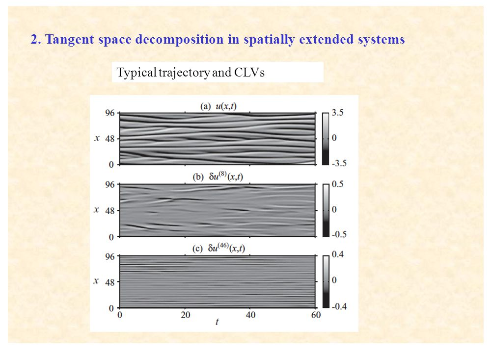2. Tangent space decomposition in spatially extended systems Typical trajectory and CLVs
