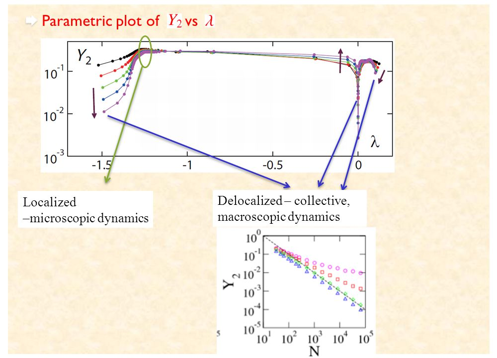 Parametric plot of vs Delocalized – collective, macroscopic dynamics Localized –microscopic dynamics