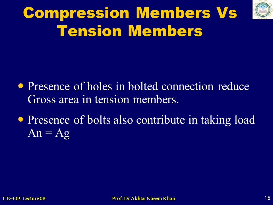 CE-409: Lecture 08Prof. Dr Akhtar Naeem Khan 15 Compression Members Vs Tension Members Presence of holes in bolted connection reduce Gross area in ten