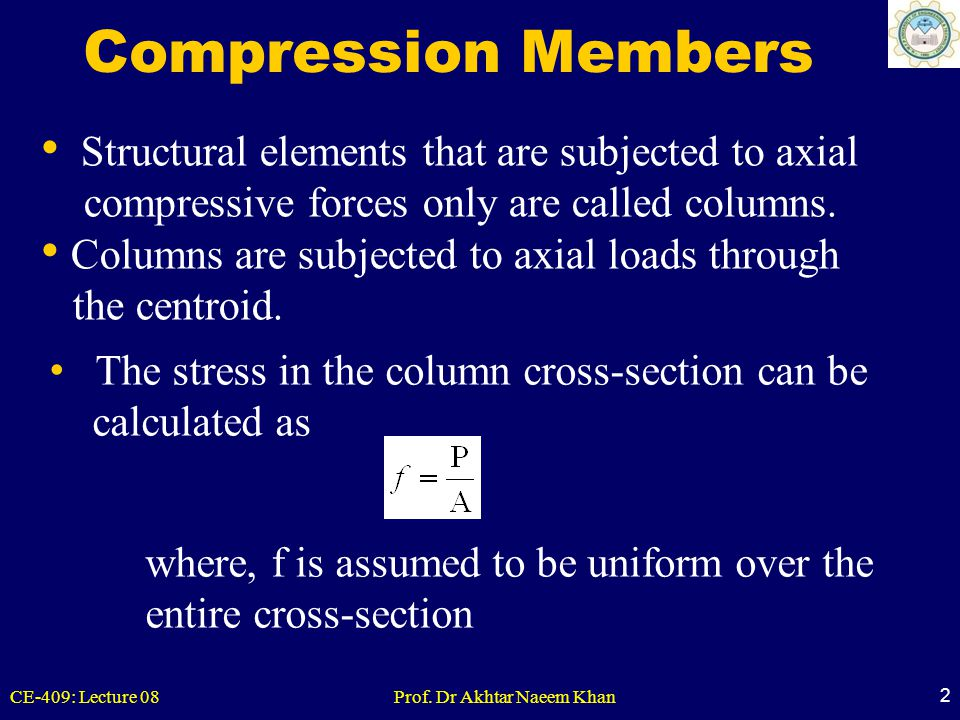 CE-409: Lecture 08Prof. Dr Akhtar Naeem Khan 2 Compression Members Structural elements that are subjected to axial compressive forces only are called