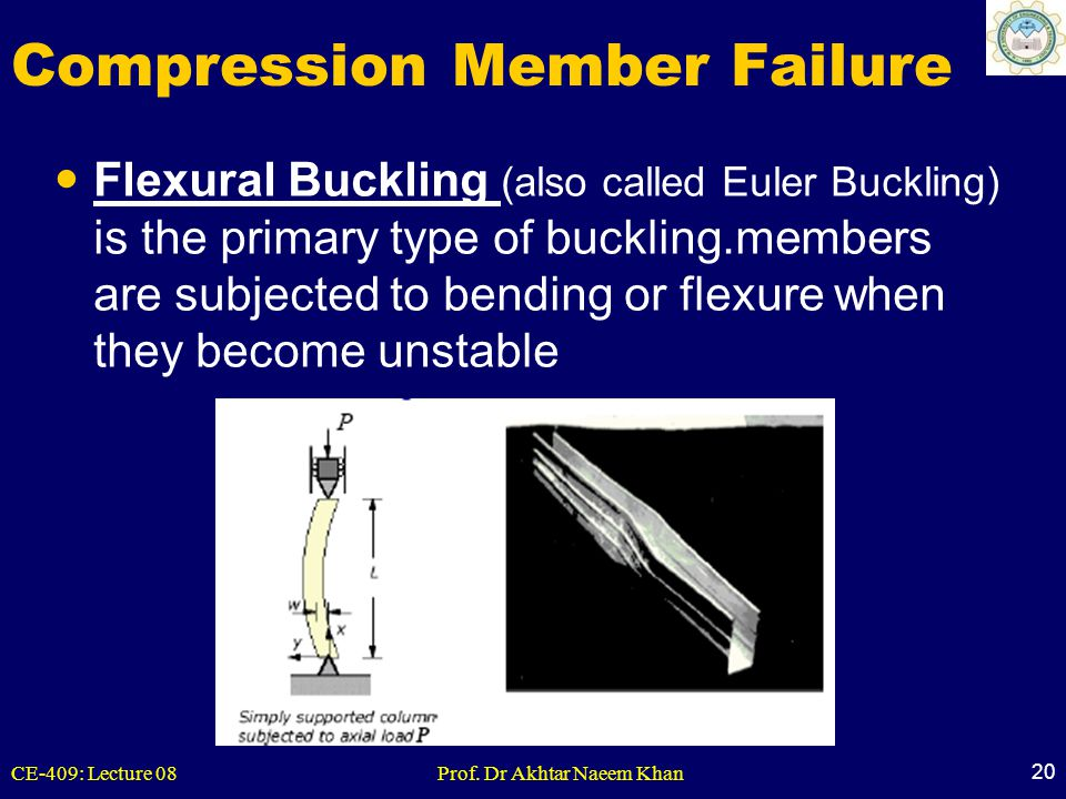 CE-409: Lecture 08Prof. Dr Akhtar Naeem Khan 20 Compression Member Failure Flexural Buckling (also called Euler Buckling) is the primary type of buckl
