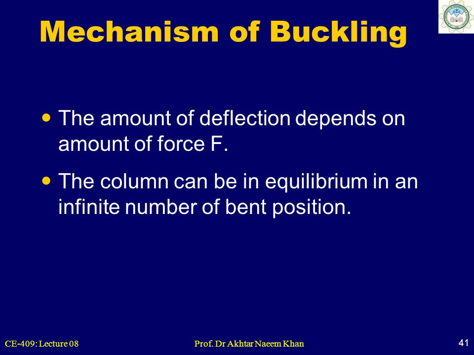 CE-409: Lecture 08Prof. Dr Akhtar Naeem Khan 41 Mechanism of Buckling The amount of deflection depends on amount of force F. The column can be in equi