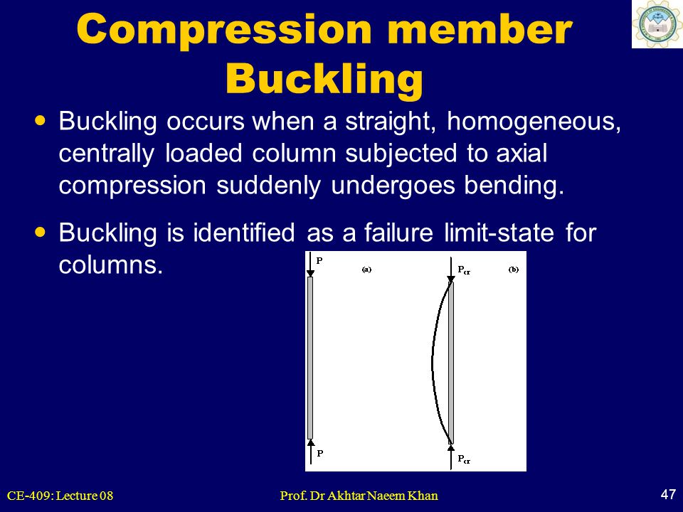 CE-409: Lecture 08Prof. Dr Akhtar Naeem Khan 47 Compression member Buckling Buckling occurs when a straight, homogeneous, centrally loaded column subj