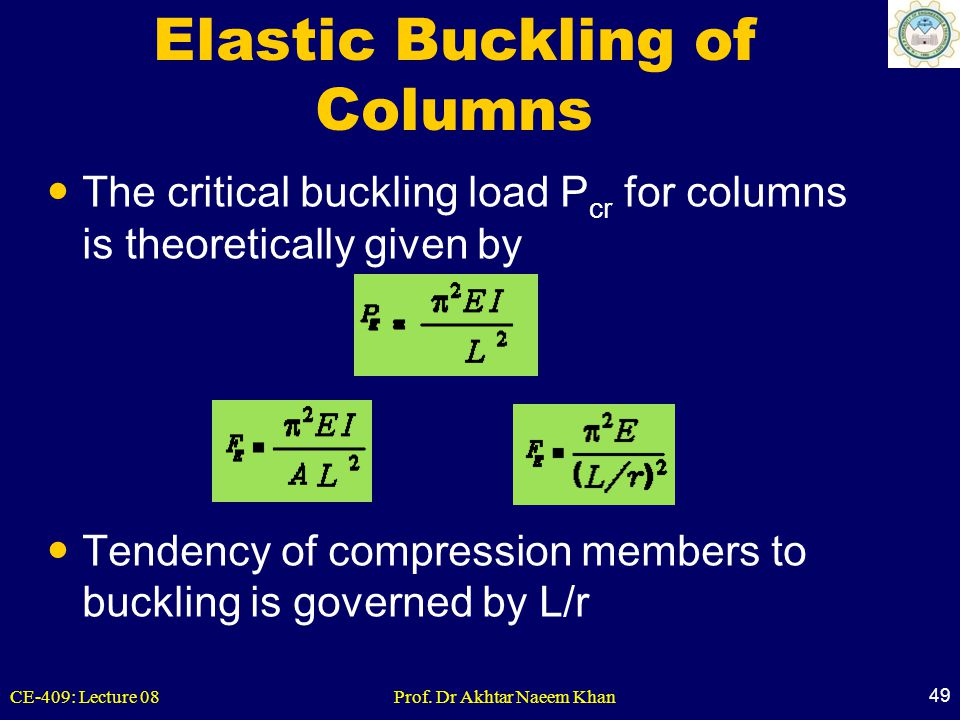 CE-409: Lecture 08Prof. Dr Akhtar Naeem Khan 49 Elastic Buckling of Columns The critical buckling load P cr for columns is theoretically given by Tend