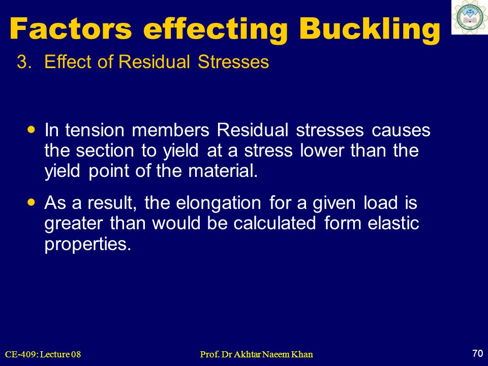 CE-409: Lecture 08Prof. Dr Akhtar Naeem Khan 70 3.Effect of Residual Stresses Factors effecting Buckling In tension members Residual stresses causes t