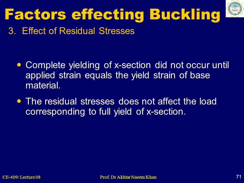 CE-409: Lecture 08Prof. Dr Akhtar Naeem Khan 71 3.Effect of Residual Stresses Factors effecting Buckling Complete yielding of x-section did not occur