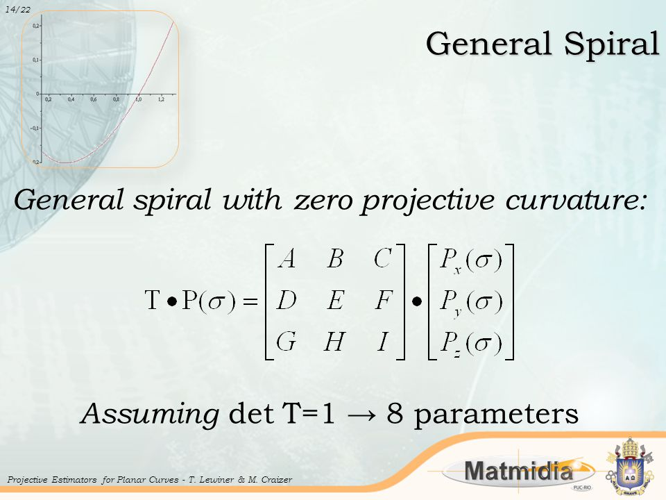 General Spiral General spiral with zero projective curvature: Assuming det T=1 → 8 parameters 14 /22 Projective Estimators for Planar Curves - T. Lewi