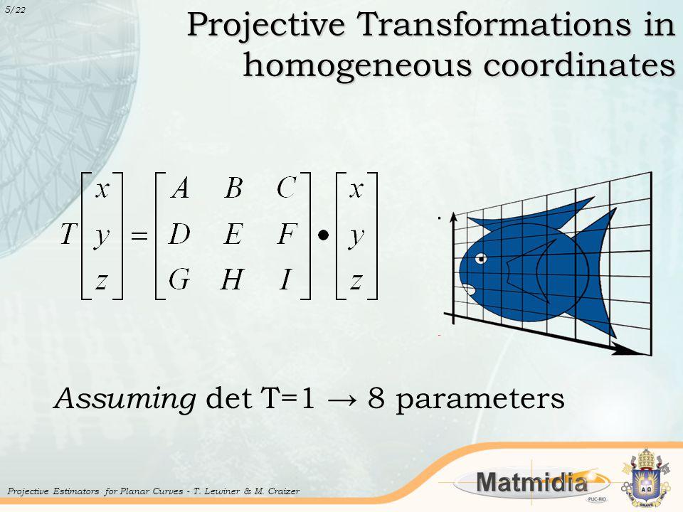 Projective Transformations in homogeneous coordinates 5 /22 Projective Estimators for Planar Curves - T.