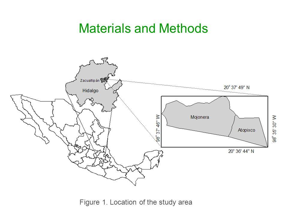 Materials and Methods Localización del área de estudio Figure 1. Location of the study area