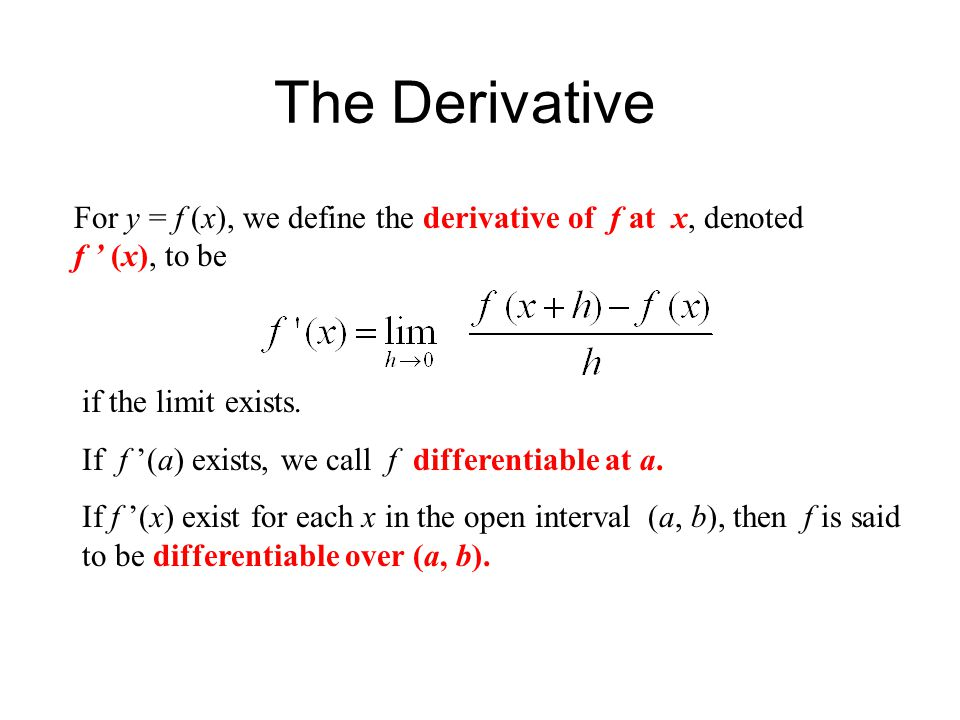 The Derivative For y = f (x), we define the derivative of f at x, denoted f ' (x), to be if the limit exists. If f '(a) exists, we call f differentiab