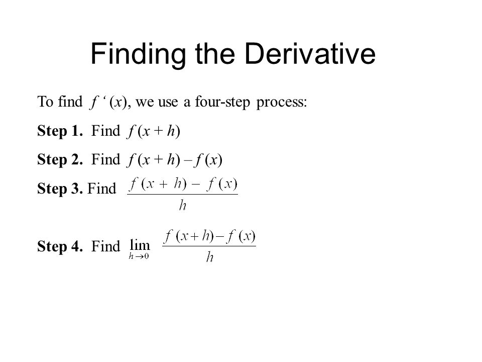 Finding the Derivative To find f ' (x), we use a four-step process: Step 1.