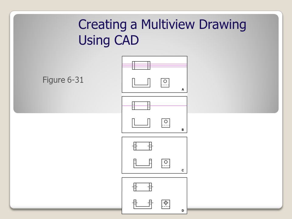 Figure 6-31 Creating a Multiview Drawing Using CAD