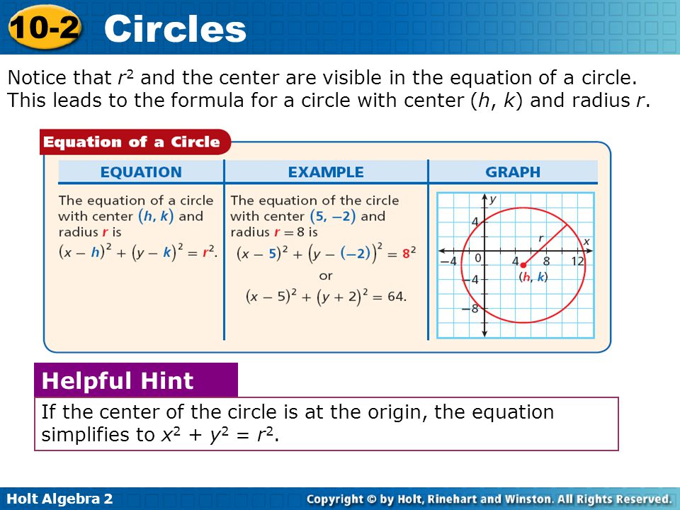 Holt Algebra 2 10-2 Circles Circles: Extra Info The following power-point slides contain extra examples and information.