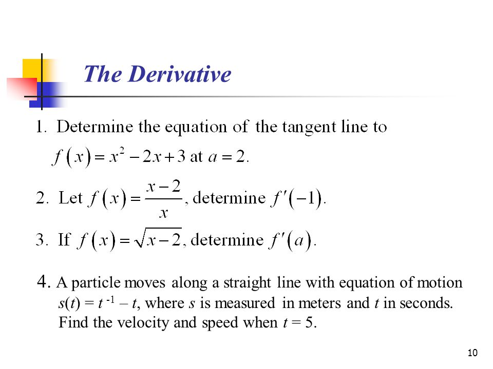 10 The Derivative 4.