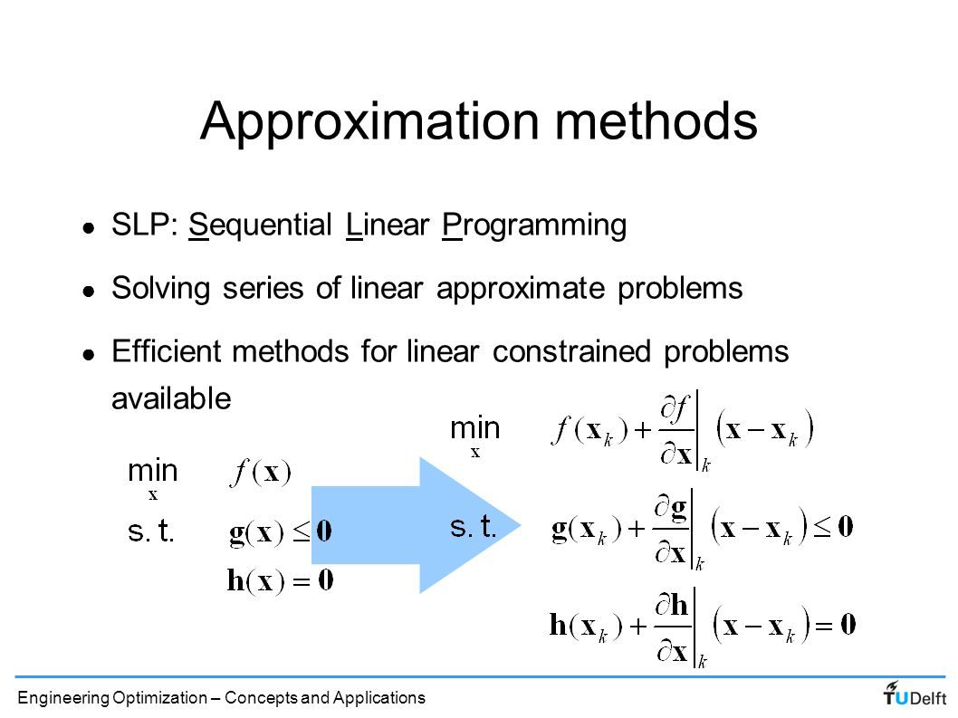 Engineering Optimization – Concepts and Applications SLP 1-D illustration ● SLP iterations approach convex feasible domain from outside: x = 0.8 x = 0.988 f g
