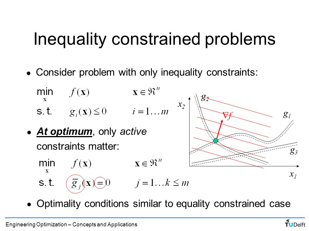 Engineering Optimization – Concepts and Applications Inequality constraints ● First order optimality: ● Consider feasible local variation around optimum: (boundary optimum) (feasible perturbation) Since