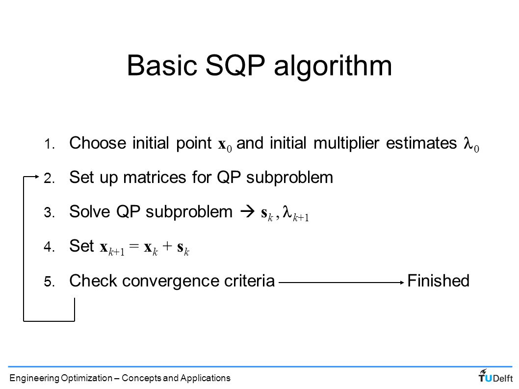 Engineering Optimization – Concepts and Applications SQP refinements ● For convergence of Newton method, must be positive definite – Line search along s k improves robustness ● To avoid computation of Hessian information for, quasi-Newton approaches (DFP, BFGS) can be used (also ensure positive definiteness) ● For dealing with inequality constraints, various active set strategies exist