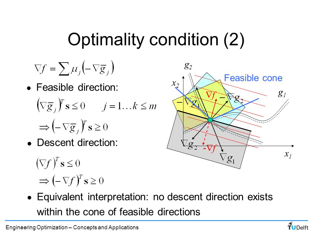 Engineering Optimization – Concepts and Applications Karush-Kuhn-Tucker conditions ● First order optimality conditions for constrained problem: Lagrangian: