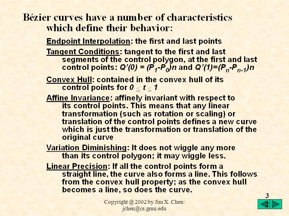 Copyright @ 2002 by Jim X. Chen: jchen@cs.gmu.edu 31 We can define recursive calculation: An important characteristic of the Bernstein functions is th