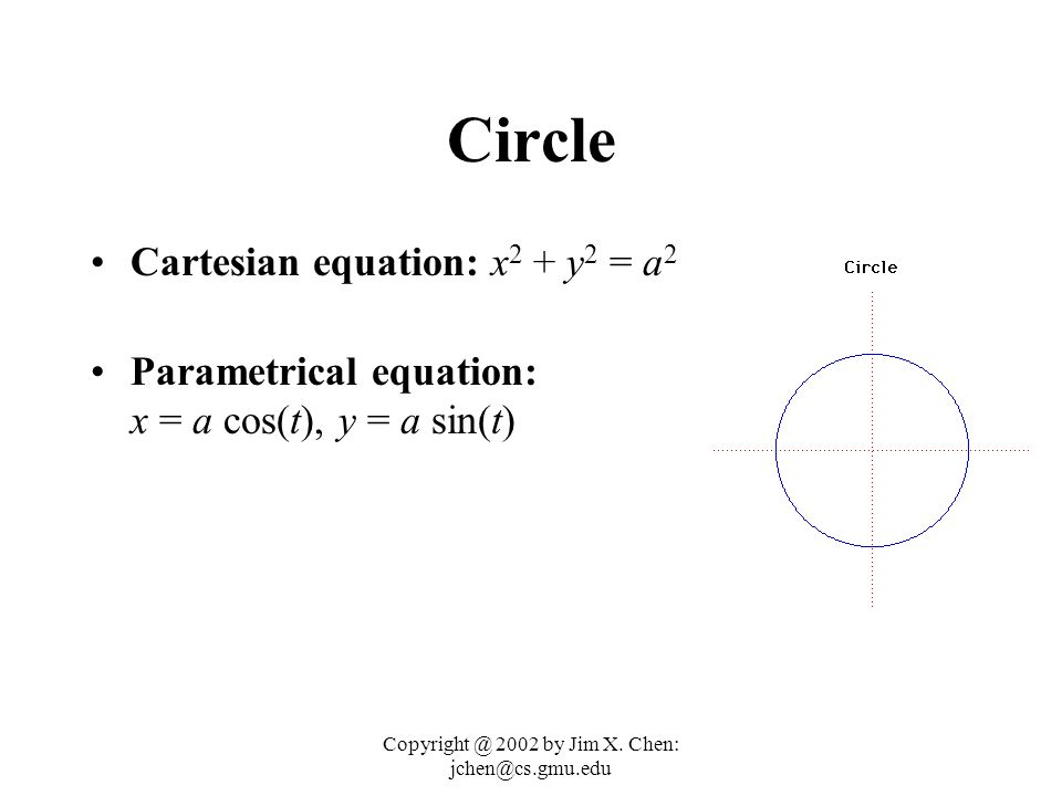 Copyright @ 2002 by Jim X. Chen: jchen@cs.gmu.edu 3 CONIC SECTIONS (2D & 2ND DEGREE) The type of section can be found from the sign of: B 2 - 4AC If B