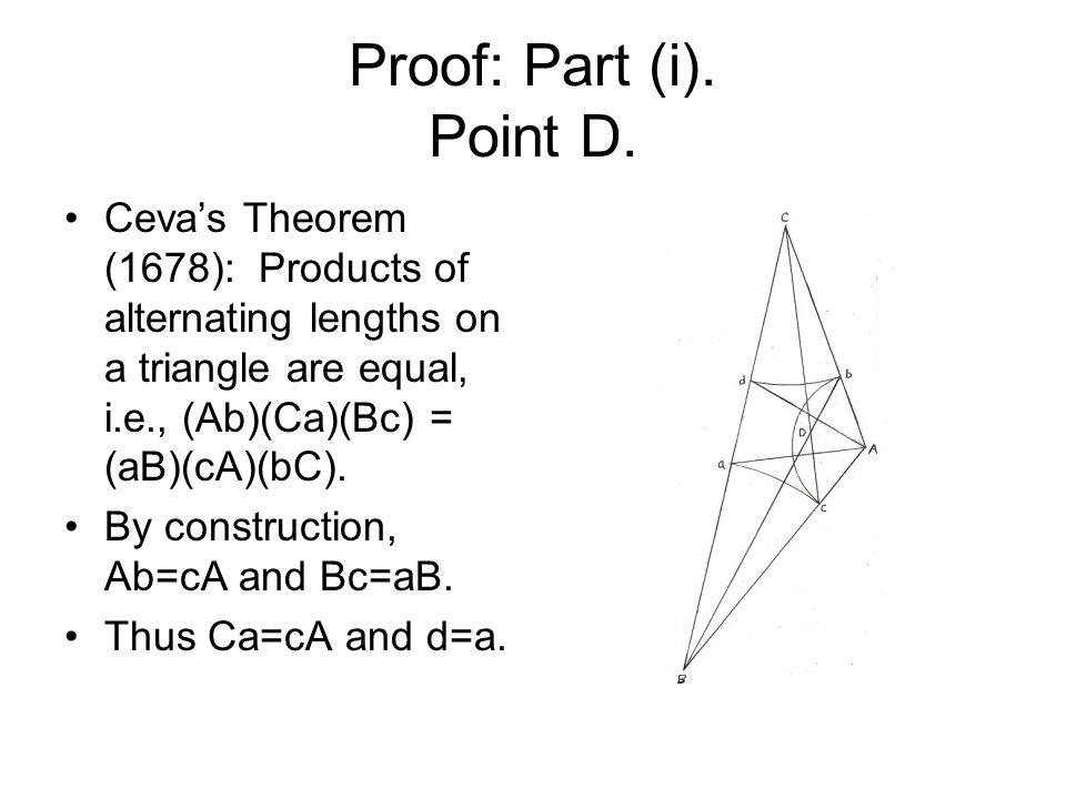 Proof: Part (i). Point D.