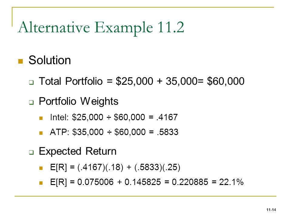 11-14 Alternative Example 11.2 Solution  Total Portfolio = $25,000 + 35,000= $60,000  Portfolio Weights Intel: $25,000 ÷ $60,000 =.4167 ATP: $35,000