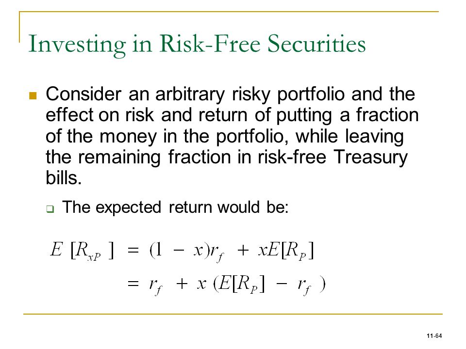 11-64 Investing in Risk-Free Securities Consider an arbitrary risky portfolio and the effect on risk and return of putting a fraction of the money in