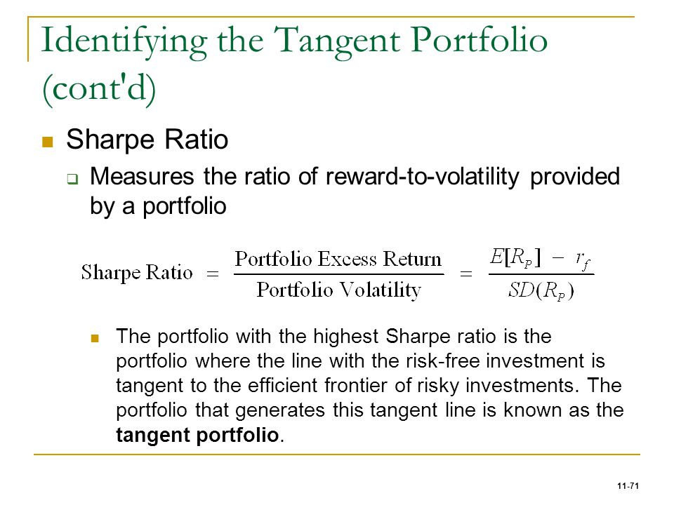 11-71 Identifying the Tangent Portfolio (cont'd) Sharpe Ratio  Measures the ratio of reward-to-volatility provided by a portfolio The portfolio with