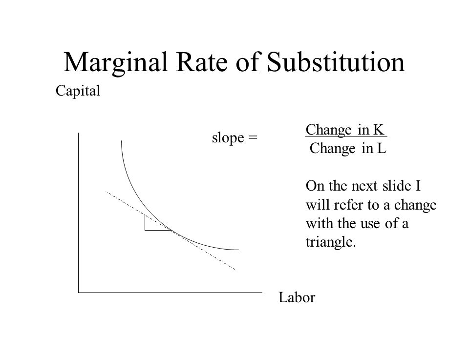 Marginal Rate of Substitution Capital Labor Change in K Change in L On the next slide I will refer to a change with the use of a triangle.