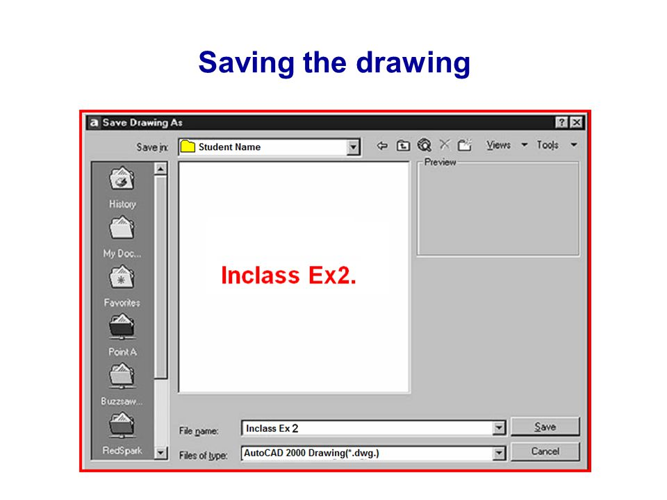 Saving the drawing