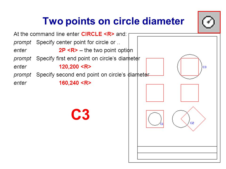 Two points on circle diameter At the command line enter CIRCLE and: prompt Specify center point for circle or..