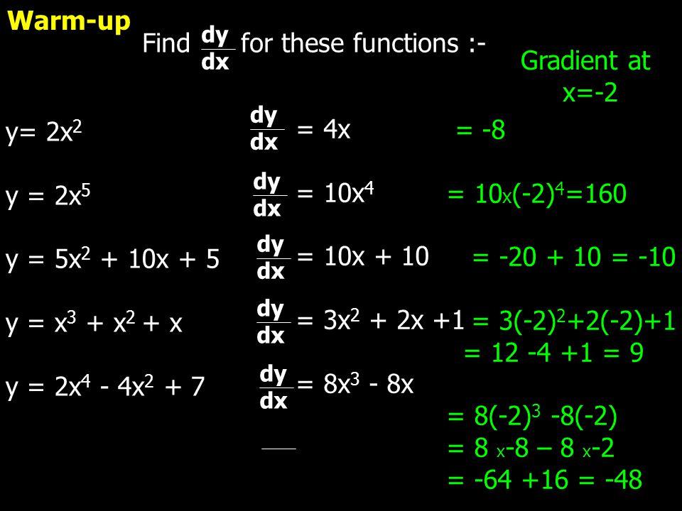 Find for these functions :- dy dx y= 2x 2 y = 2x 5 y = 5x 2 + 10x + 5 y = x 3 + x 2 + x y = 2x 4 - 4x 2 + 7 dy dx dy dx dy dx dy dx dy dx = 4x = 10x 4