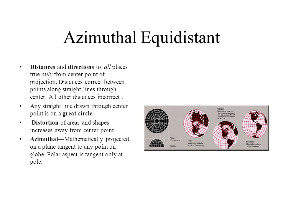 Azimuthal Equidistant Distances and directions to all places true only from center point of projection.