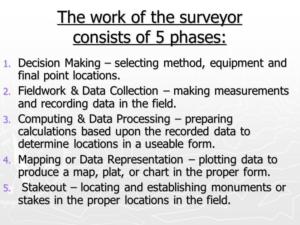 Mine Surveying ► Points are on roof of mine Reasons needed 1.