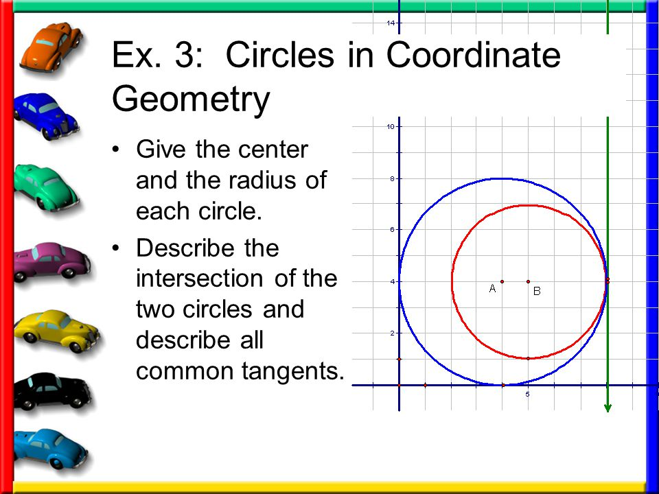 Ex.3: Circles in Coordinate Geometry Give the center and the radius of each circle.