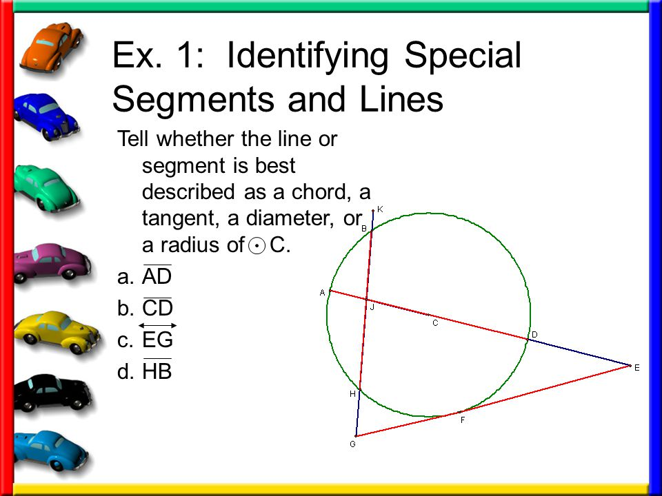 Ex. 1: Identifying Special Segments and Lines Tell whether the line or segment is best described as a chord, a tangent, a diameter, or a radius of C.