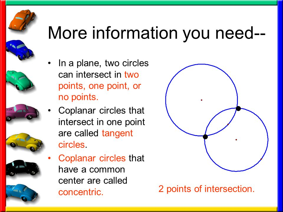 More information you need-- In a plane, two circles can intersect in two points, one point, or no points.