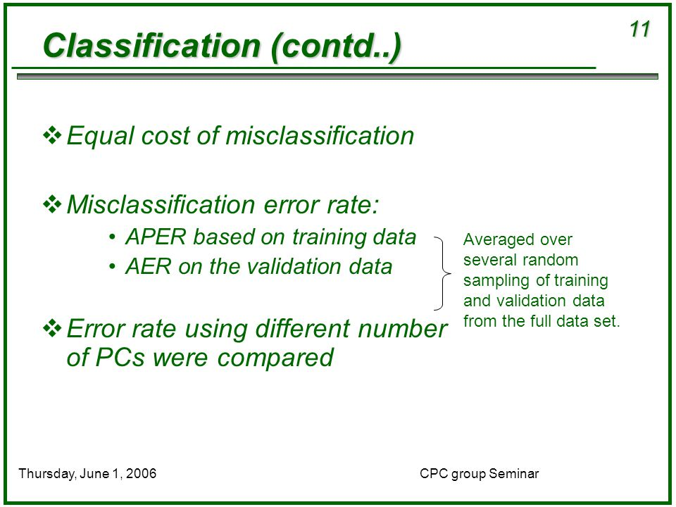 11 CPC group SeminarThursday, June 1, 2006 Classification (contd..)  Equal cost of misclassification  Misclassification error rate: APER based on training data AER on the validation data  Error rate using different number of PCs were compared Averaged over several random sampling of training and validation data from the full data set.